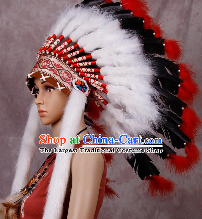 Halloween Donald Catwalks Deluxe White Feather Headdress Cosplay Apache Knight Feather Hat for Adults