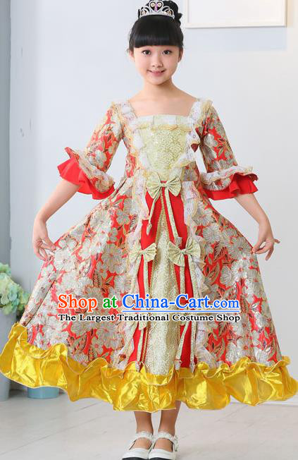 Top Grade European Classical Dance Costumes Court Dance Red Full Dress for Kids