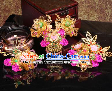 Chinese Traditional Handmade Wedding Hair Accessories Ancient Bride Hairpins Complete Set for Women