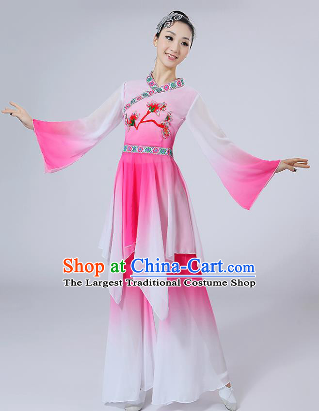 Chinese Traditional Classical Dance Costumes Folk Dance Yanko Fan Dance Pink Clothing for Women
