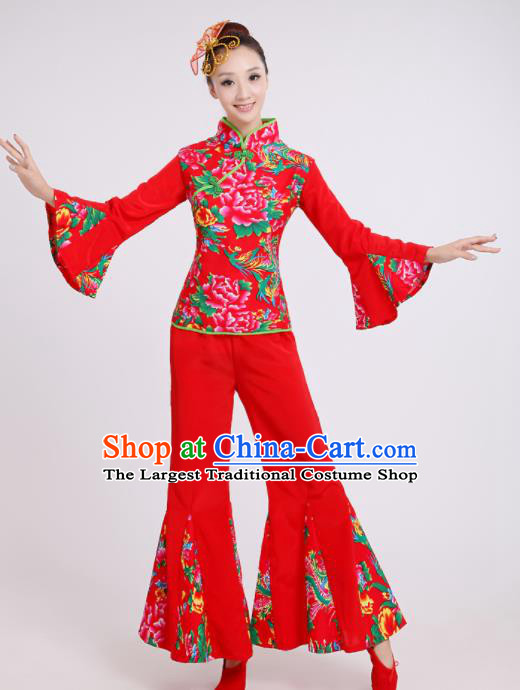 Chinese Traditional Classical Dance Costumes Folk Dance Yanko Fan Dance Red Clothing for Women