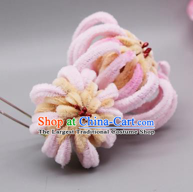 Chinese Traditional Handmade Hair Accessories Ancient Qing Dynasty Queen Pink Velvet Flower Hairpins for Women