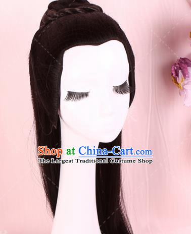 Traditional Chinese Drama Prince Handmade Wigs Ancient Swordsman Chignon for Men