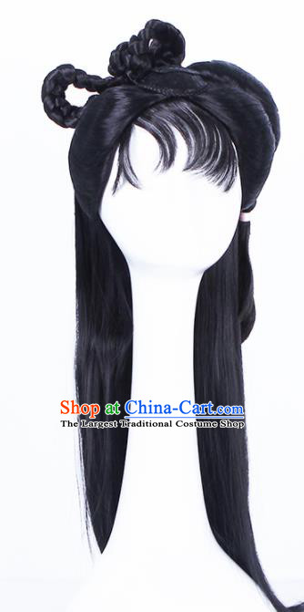 Traditional Chinese Handmade Hair Accessories Wigs Sheath Ancient Palace Princess Chignon for Women