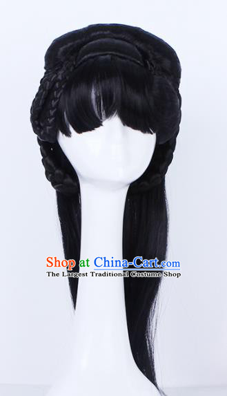Traditional Chinese Handmade Bangs Wigs Sheath Hair Accessories Ancient Palace Princess Chignon for Women
