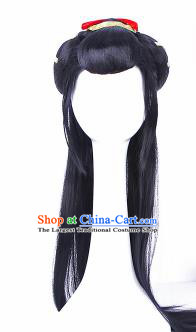 Traditional Chinese Drama Peri Wigs Sheath Ancient Swordswoman Handmade Chignon Hair Accessories for Women