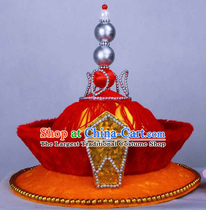 Chinese Traditional Handmade Hats Ancient Qing Dynasty Emperor Headwear for Men