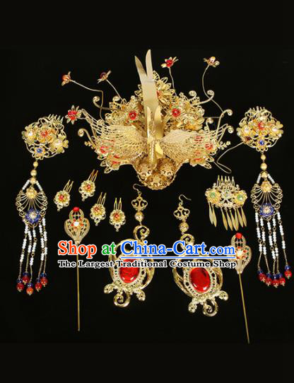 Chinese Traditional Handmade Queen Phoenix Hairpins Ancient Empress Headwear for Women