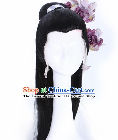 Traditional Chinese Drama Swordsman Peruke Handmade Wigs Ancient Nobility Childe Chignon for Men