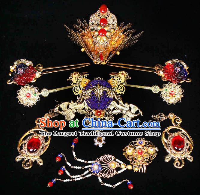 Chinese Traditional Handmade Imperial Consort Phoenix Hairpins Ancient Empress Headwear for Women