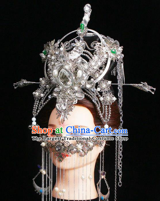 Chinese Traditional Handmade Phoenix Coronet Hairpins Ancient Tang Dynasty Empress Headwear for Women