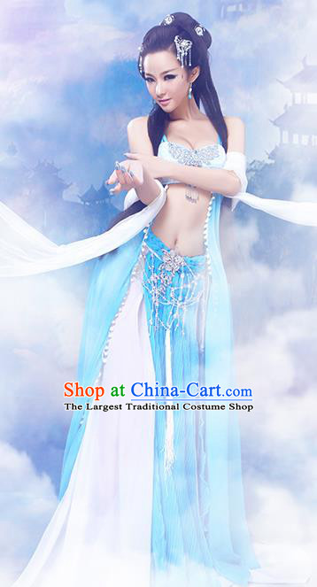Chinese Traditional Court Dancer Consort Costumes Ancient Fairy Hanfu Sexy Dress and Headpiece for Women