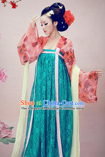 Chinese Traditional Tang Dynasty Court Lady Consort Costumes Ancient Imperial Consort Hanfu Dress and Headpiece for Women