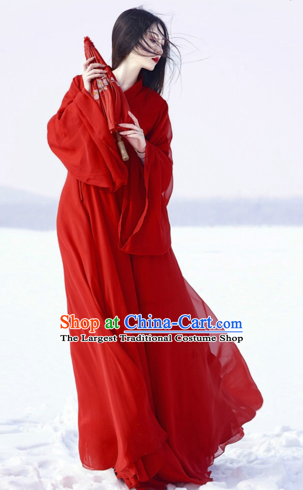Lucky Red Wide Ancient Chinese Classical Beauty Han Zhuang Hanfu Clothing Complete Set