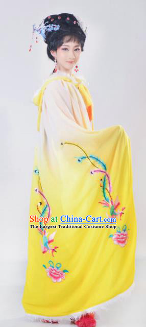 Chinese Traditional Peking Opera Actress Costumes Ancient Imperial Concubine Yellow Cloak for Adults