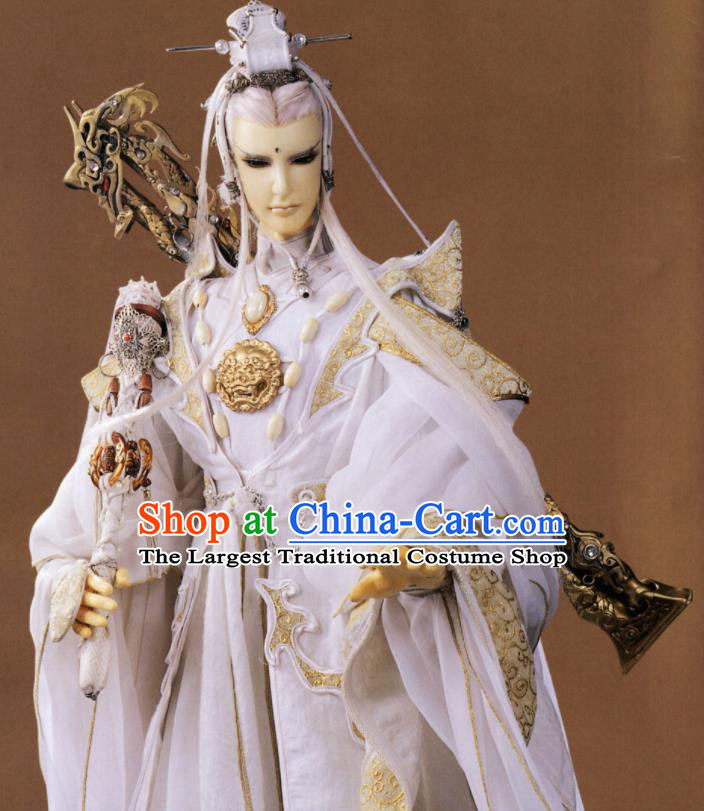 Asian Chinese Cosplay White Costumes Ancient Swordsman Royal Highness Clothing for Men