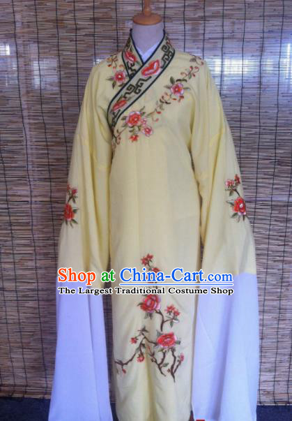Chinese Traditional Peking Opera Niche Costume Ancient Scholar Yellow Robe for Adults