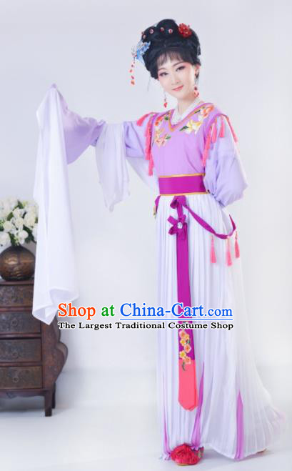 Chinese Traditional Peking Opera Actress Costumes Ancient Young Lady Purple Dress for Adults