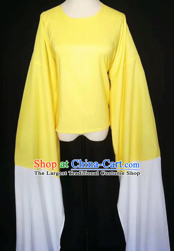 Chinese Traditional Peking Opera Costumes Ancient Water Sleeve Yellow Blouse for Adults