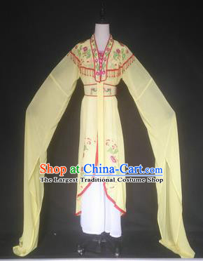 Chinese Traditional Peking Opera Costumes Ancient Court Maid Yellow Dress for Adults
