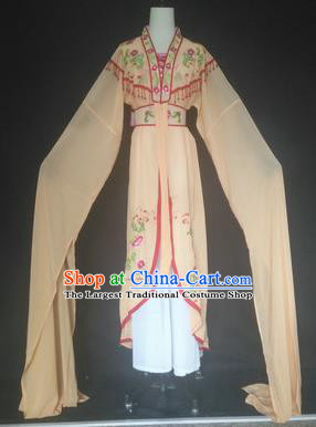 Chinese Traditional Peking Opera Costumes Ancient Court Maid Apricot Dress for Adults