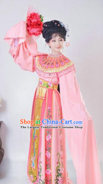 Chinese Traditional Peking Opera Queen Pink Costumes Ancient Empress Dress for Adults