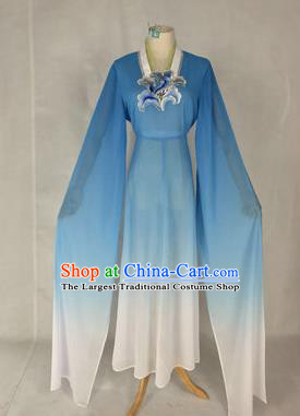 Chinese Traditional Peking Opera Court Maid Costumes Ancient Beijing Opera Diva Blue Dress for Adults