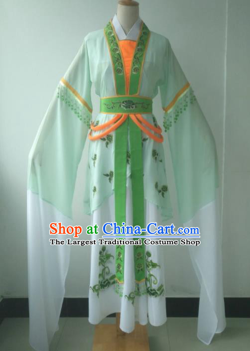 Chinese Traditional Peking Opera Maid Costumes Ancient Young Lady Embroidered Dress for Adults