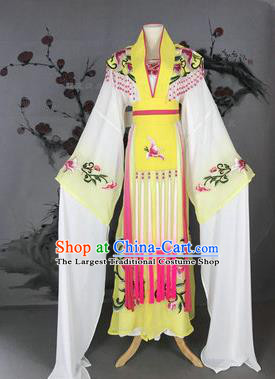 Chinese Traditional Peking Opera Actress Costumes Ancient Imperial Concubine Embroidered Yellow Dress for Adults