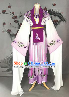 Chinese Traditional Peking Opera Actress Costumes Ancient Imperial Concubine Embroidered Purple Dress for Adults