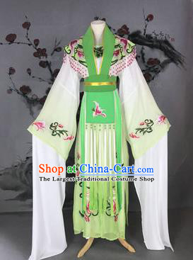 Chinese Traditional Peking Opera Actress Costumes Ancient Imperial Concubine Embroidered Light Green Dress for Adults