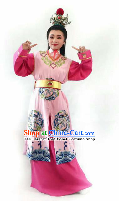 Chinese Traditional Peking Opera Niche Costume Ancient Scholar Jia Baoyu Pink Robe for Adults