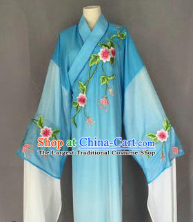 Chinese Traditional Peking Opera Niche Costume Ancient Scholar Blue Robe for Adults