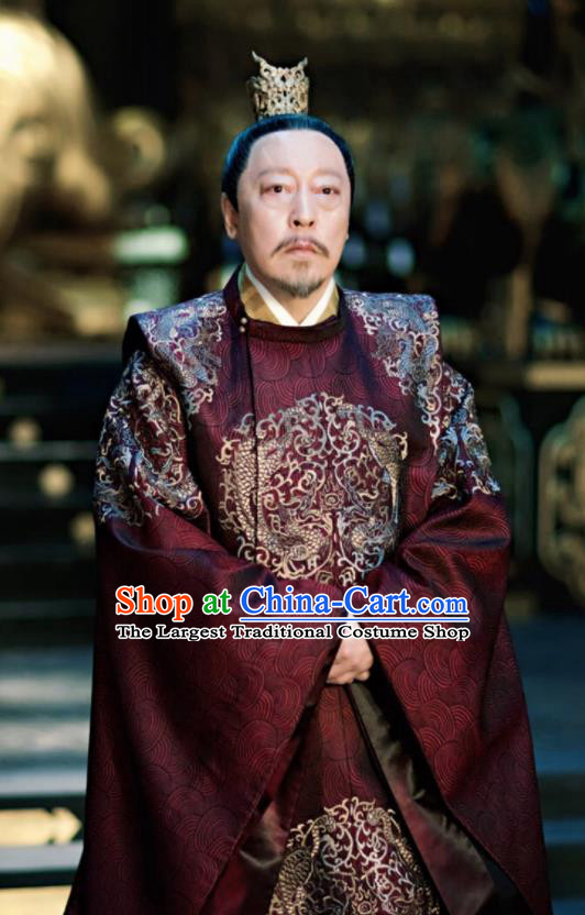 Chinese Ancient Tang Dynasty Imperial Emperor Costumes The Rise of Phoenixes King Clothing and Headpiece Complete Set