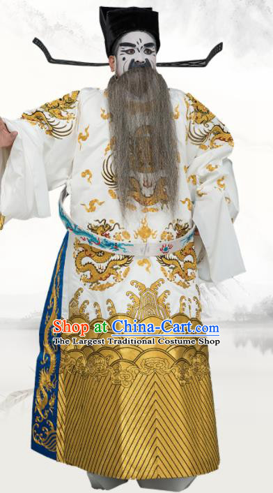 Chinese Traditional Peking Opera Old Men Costume Ancient Prime Minister White Embroidered Robe for Adults
