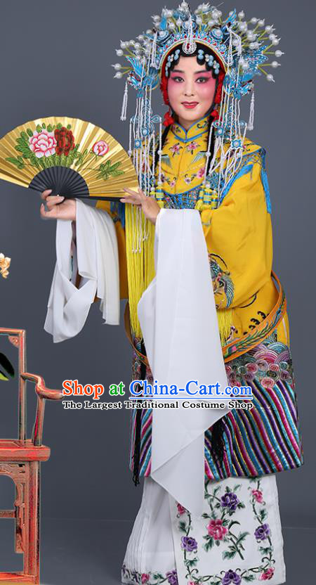 Chinese Traditional Beijing Opera Actress Costumes Ancient Imperial Consort Yellow Embroidered Robe for Adults