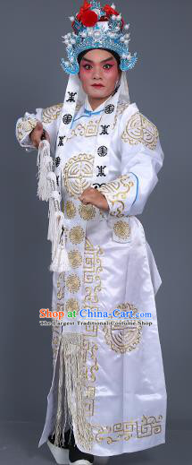 Chinese Traditional Peking Opera Takefu Costume Ancient Imperial Bodyguard White Embroidered Robe for Adults