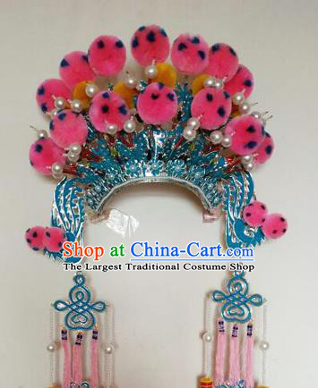 Chinese Traditional Peking Opera Blues Hat Ancient Female General Headwear for Adults