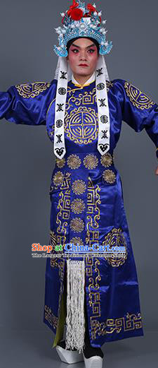 Chinese Traditional Peking Opera Takefu Costume Ancient Imperial Bodyguard Royalblue Embroidered Robe for Adults