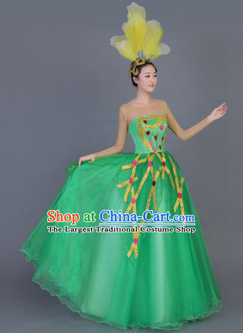 Professional Opening Dance Costume Stage Performance Flowers Green Dress for Women