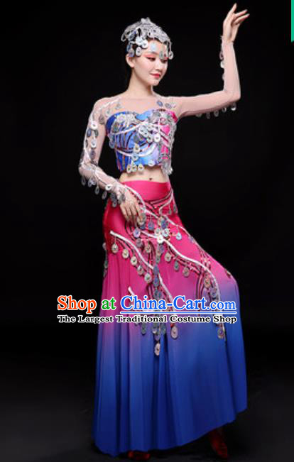 Chinese Traditional Dai Nationality Folk Dance Costumes Peacock Dance Dress for Women