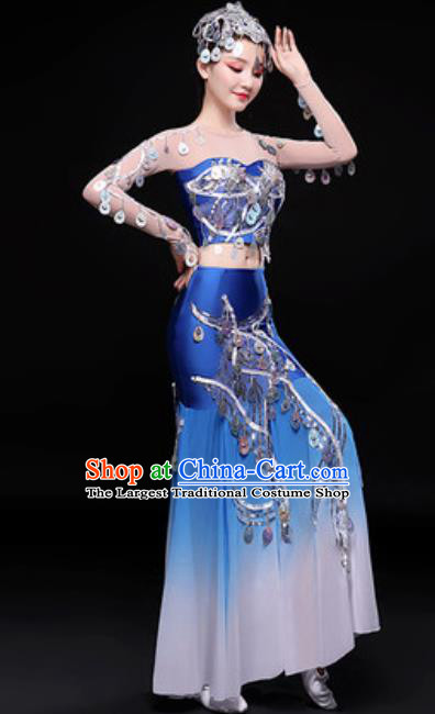 Chinese Traditional Dai Nationality Folk Dance Costumes Peacock Dance Blue Dress for Women