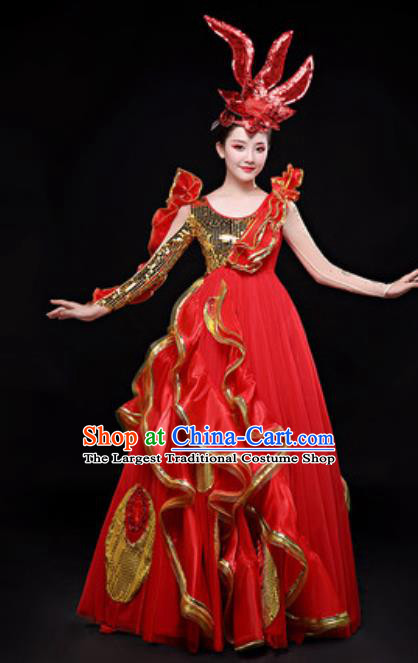 Professional Opening Dance Costume Stage Performance Chorus Red Dress for Women
