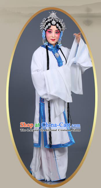 Chinese Traditional Beijing Opera Actress Costumes Ancient Young Mistress White Dress for Adults