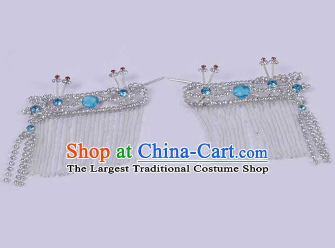 Chinese Traditional Peking Opera Princess Hair Accessories Ancient Fairy Blue Crystal Hairpins for Women