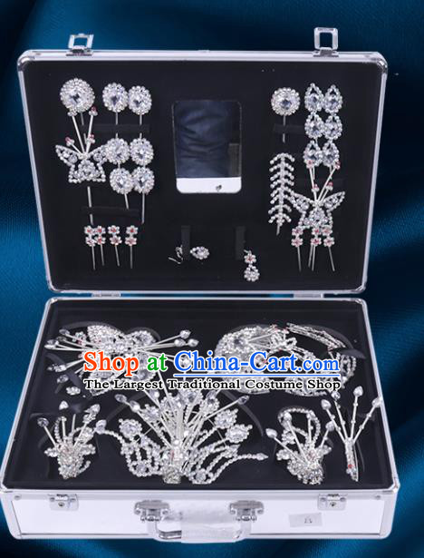 Chinese Traditional Peking Opera Princess Crystal Hair Accessories Ancient Fairy Phoenix Hairpins for Women