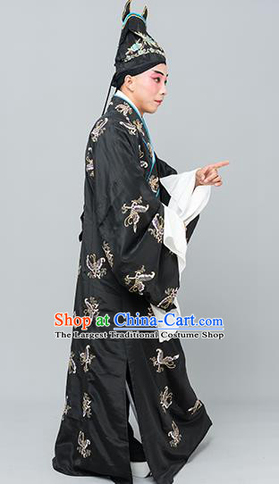 Chinese Traditional Peking Opera Niche Costume Ancient Gifted Scholar Black Butterfly Robe for Adults
