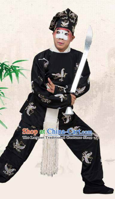 Chinese Traditional Peking Opera Takefu Costume Ancient Swordsman Black Butterfly Clothing for Adults