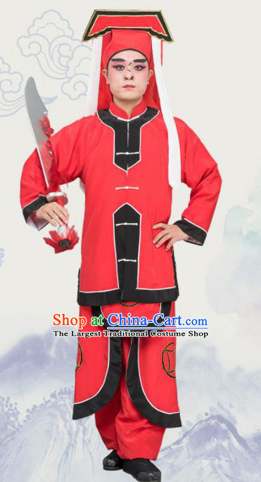 Chinese Traditional Peking Opera Takefu Costume Ancient Executioner Red Clothing for Adults