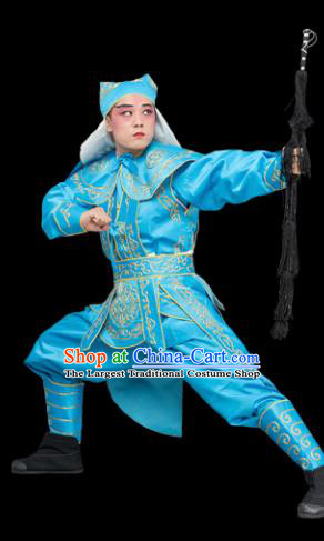 Chinese Traditional Peking Opera Takefu Costume Ancient Soldier Blue Clothing for Adults